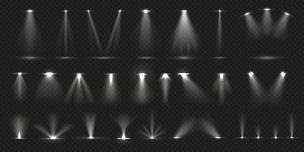 stage spotlight. show stage light effect, lighted concert scene for theater gallery disco club. vector realistic spotlight collection - reflektor światło elektryczne stock illustrations