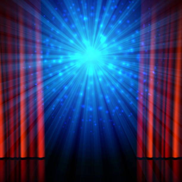 illustrazioni stock, clip art, cartoni animati e icone di tendenza di stage, spotlights and red open curtains - sipario