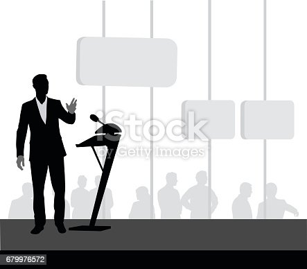 Silhouette vector illustrations of a business man giving a presentation at a podium