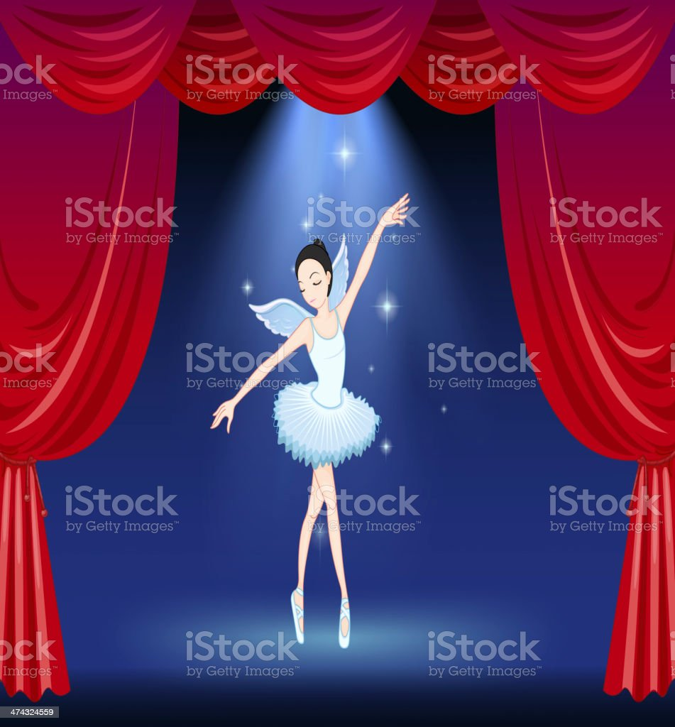 stage with a ballerina dancer royalty-free stock vector art
