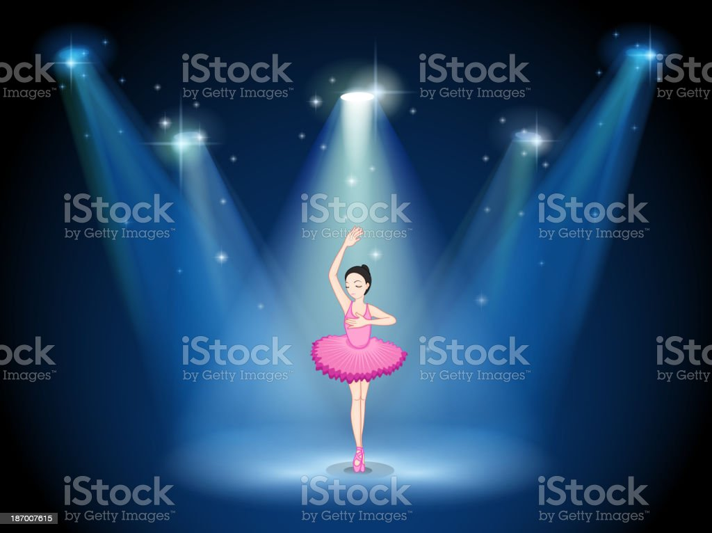stage with a ballet dancer in the middle royalty-free stock vector art