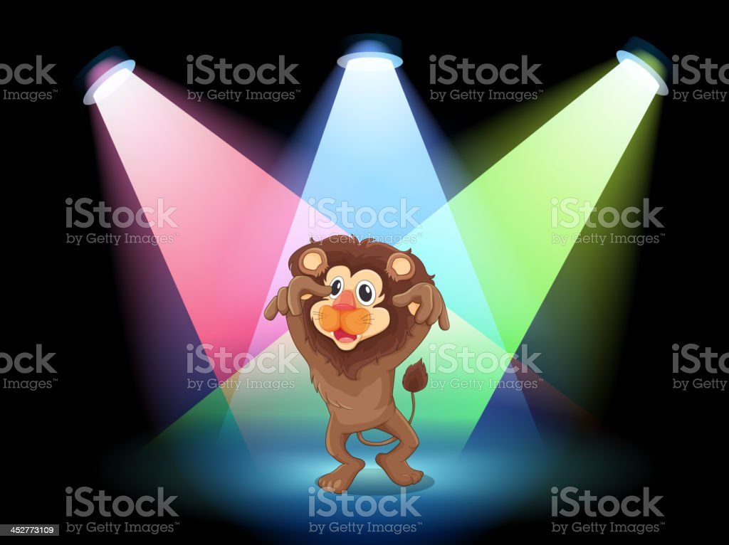 stage with a big lion royalty-free stock vector art