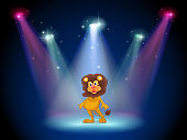 stage with a brave lion in the middle
