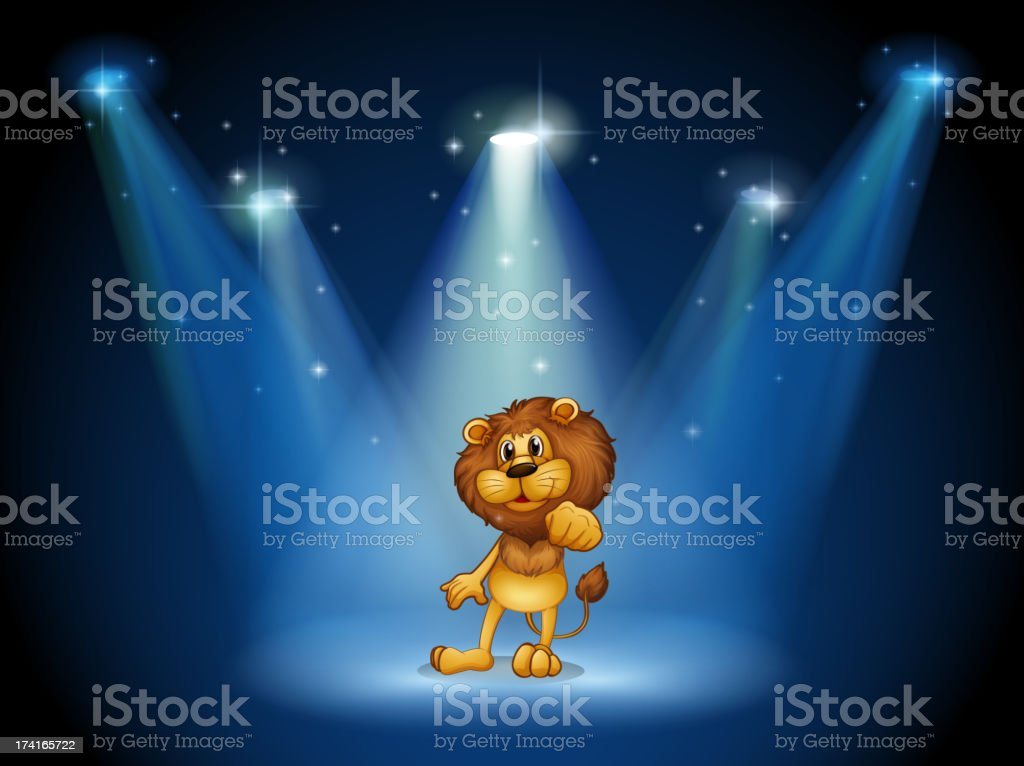 Stage with a brown lion at the center royalty-free stage with a brown lion at the center stock vector art & more images of animal