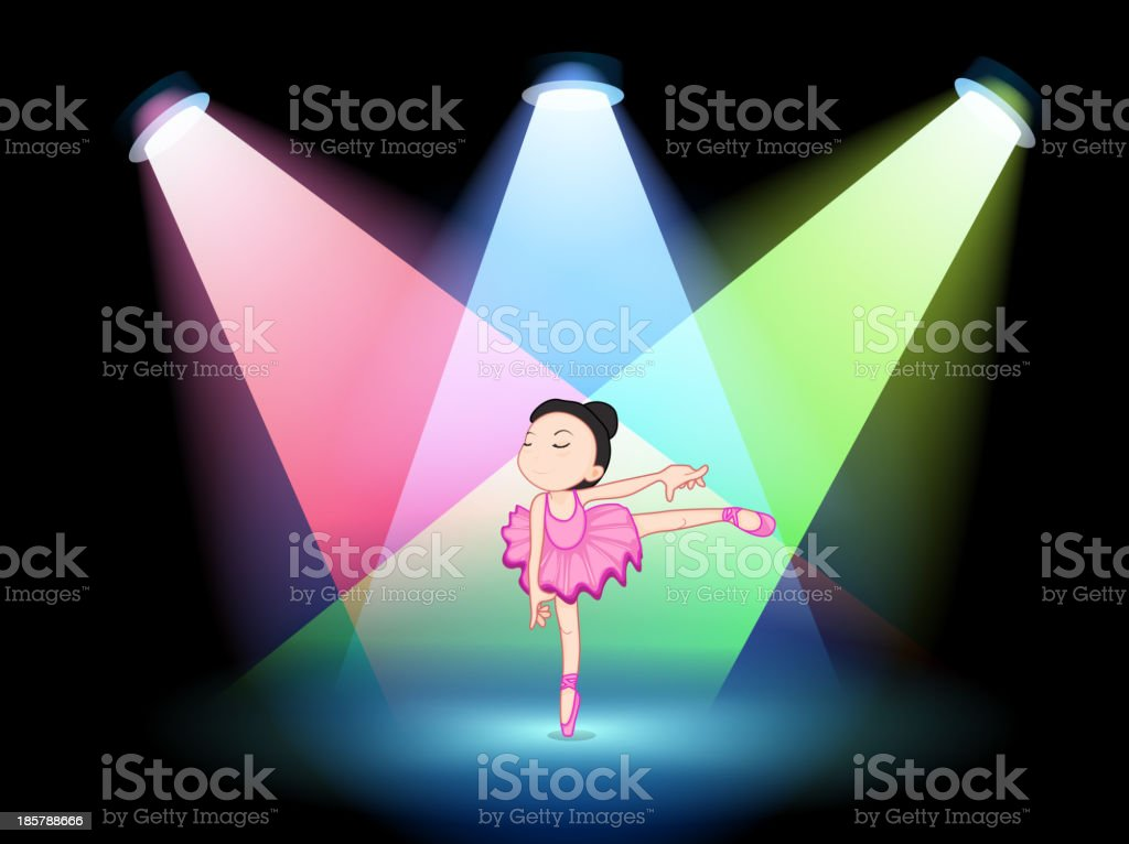 stage with a cute ballerina in the middle royalty-free stock vector art