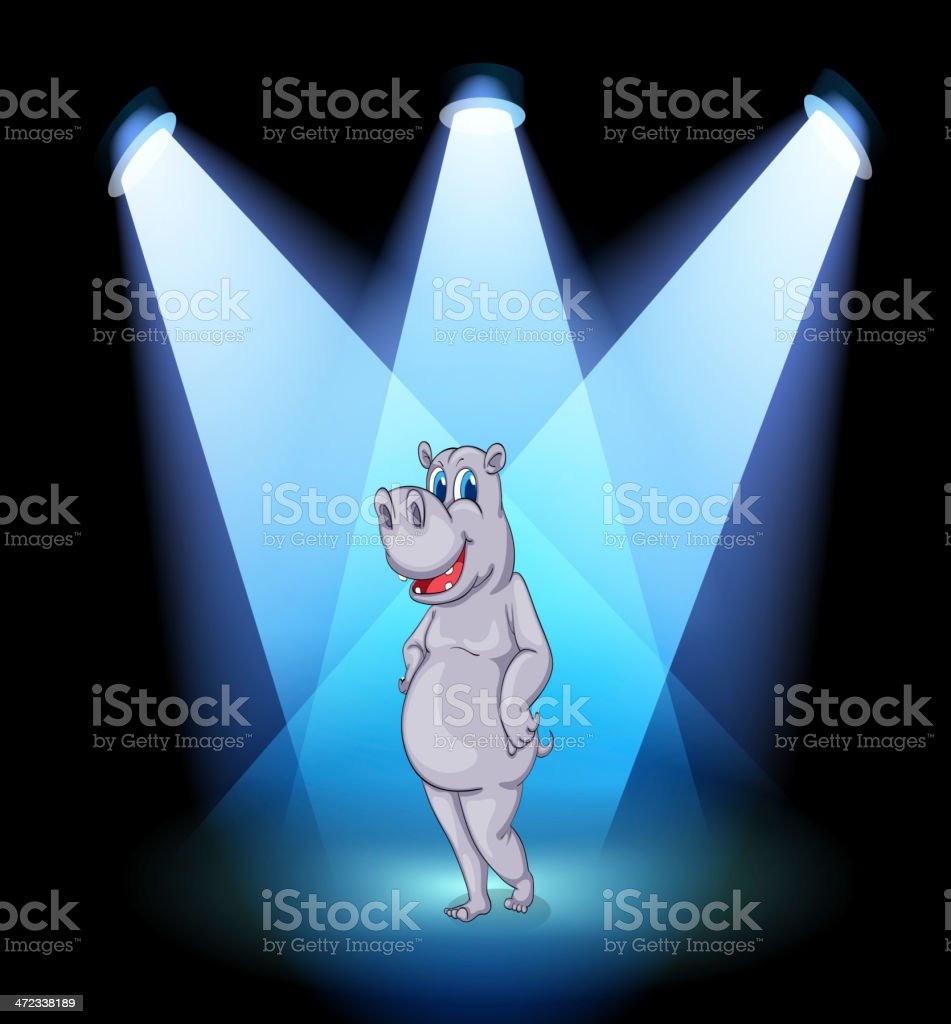 stage with a hippopotamus standing in the middle royalty-free stage with a hippopotamus standing in the middle stock vector art & more images of animal