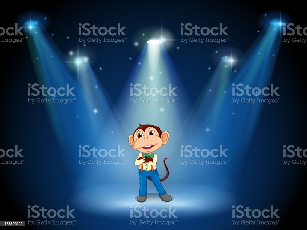 stage with a monkey in the middle royalty-free stage with a monkey in the middle stock vector art & more images of animal