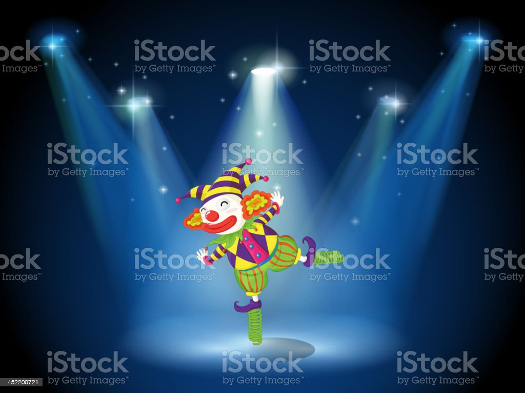 Stage with a playful clown royalty-free stock vector art