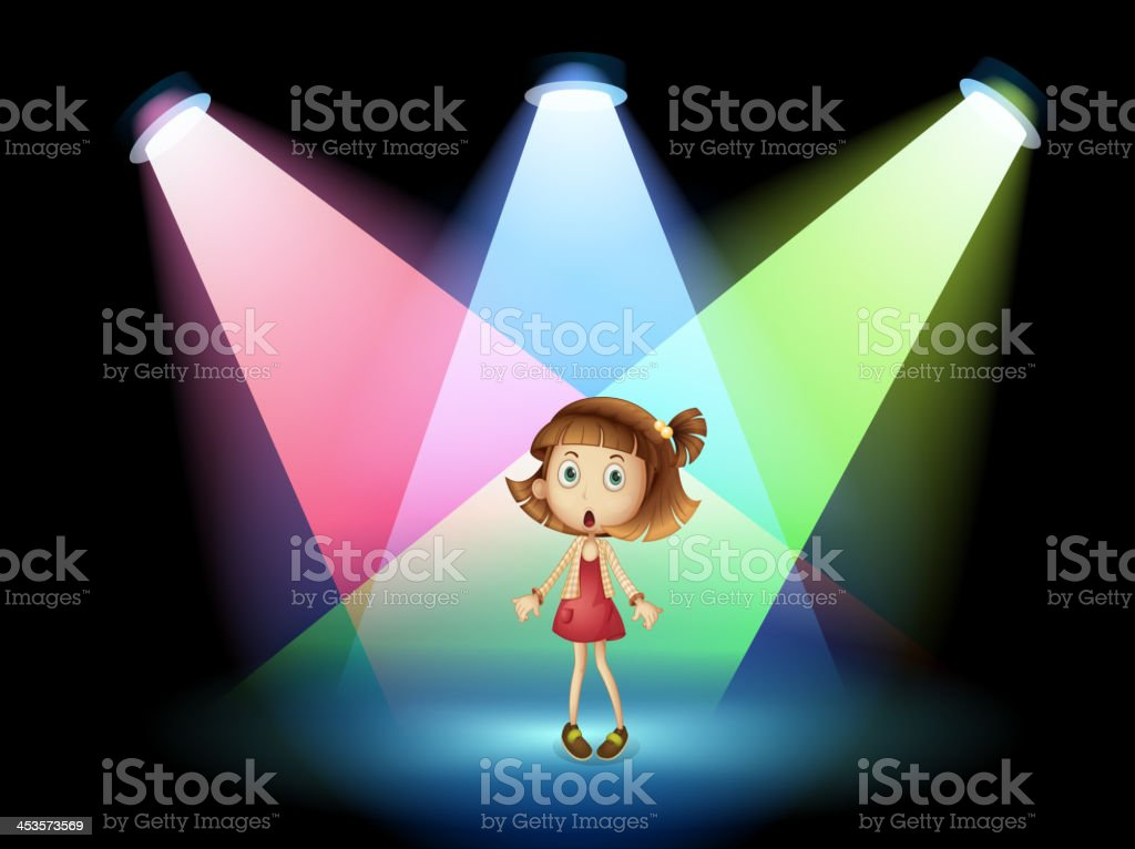 Stage with a young actress royalty-free stock vector art