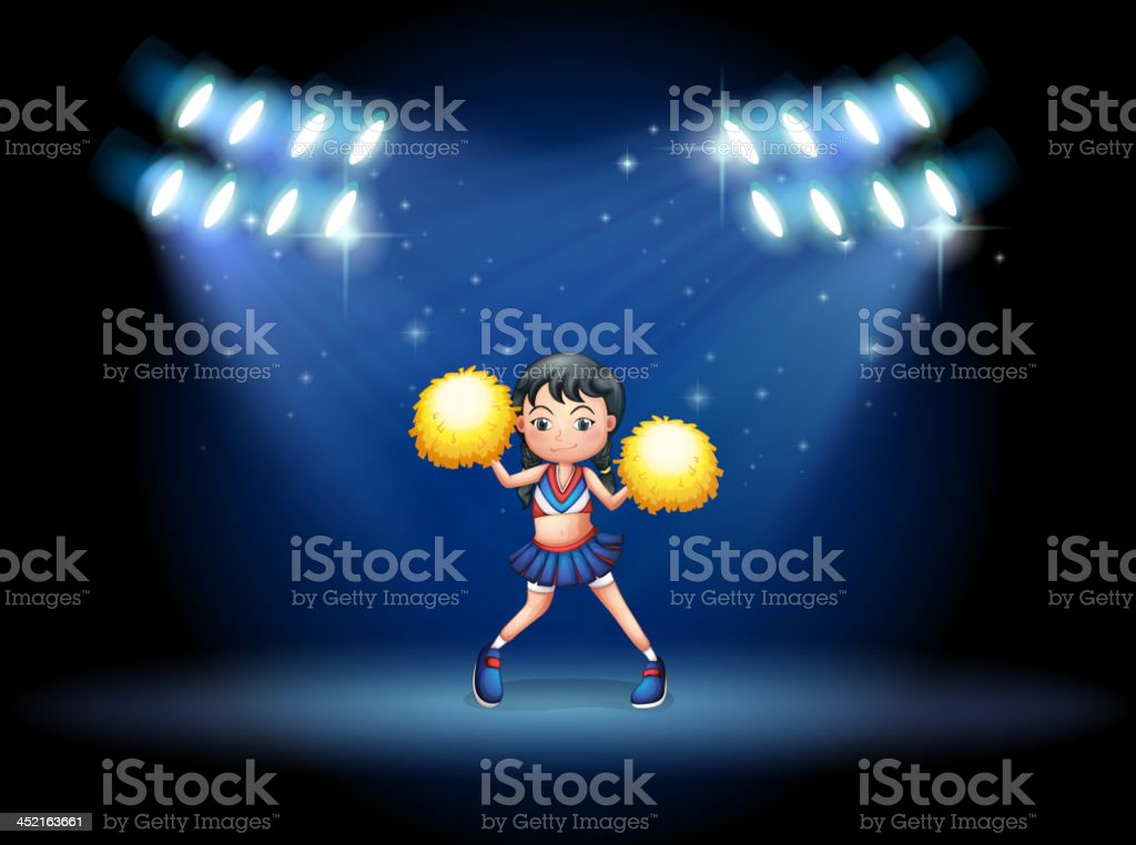 stage with a young cheerdancer at the center royalty-free stock vector art