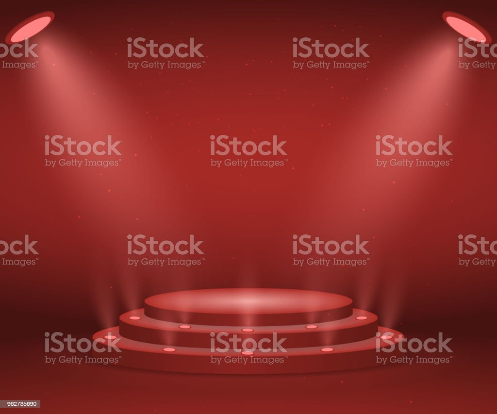 Stage with lights - arte vettoriale royalty-free di Cerchio