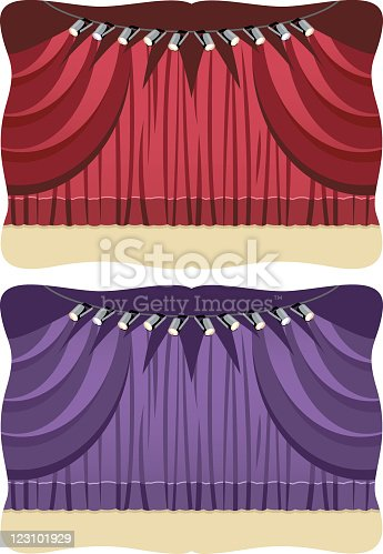 istock Stage with red and purple curtain 123101929