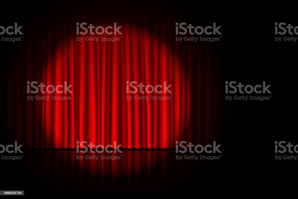 Stage with red curtain and spotlight on it vector art illustration