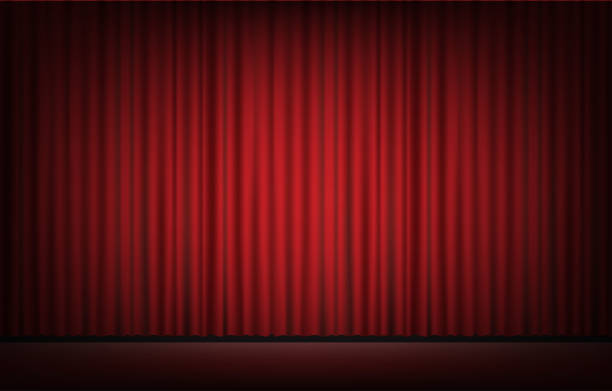 stage with red curtain background vector art illustration