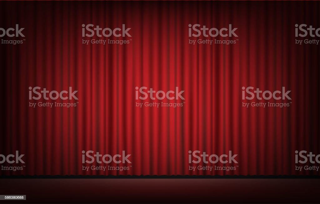 ... Stage With Red Curtain Background Vector Art Illustration ...