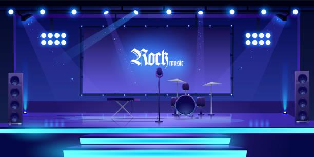 ロック楽器と機器を使ったステージ - ステージのイラスト点のイラスト素材/クリップアート素材/マンガ素材/アイコン素材