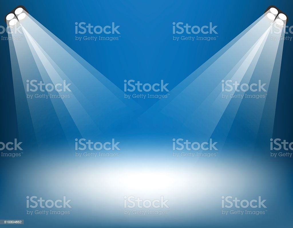 Stage with spotlight on background. vector art illustration