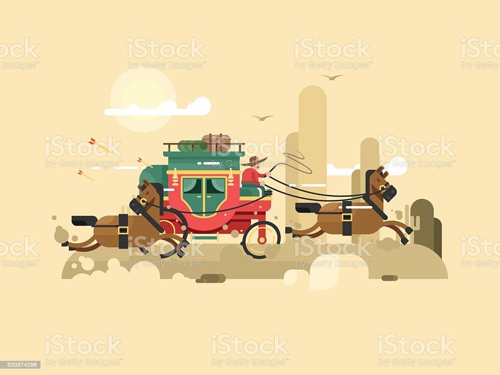 Stagecoach design flat vector art illustration