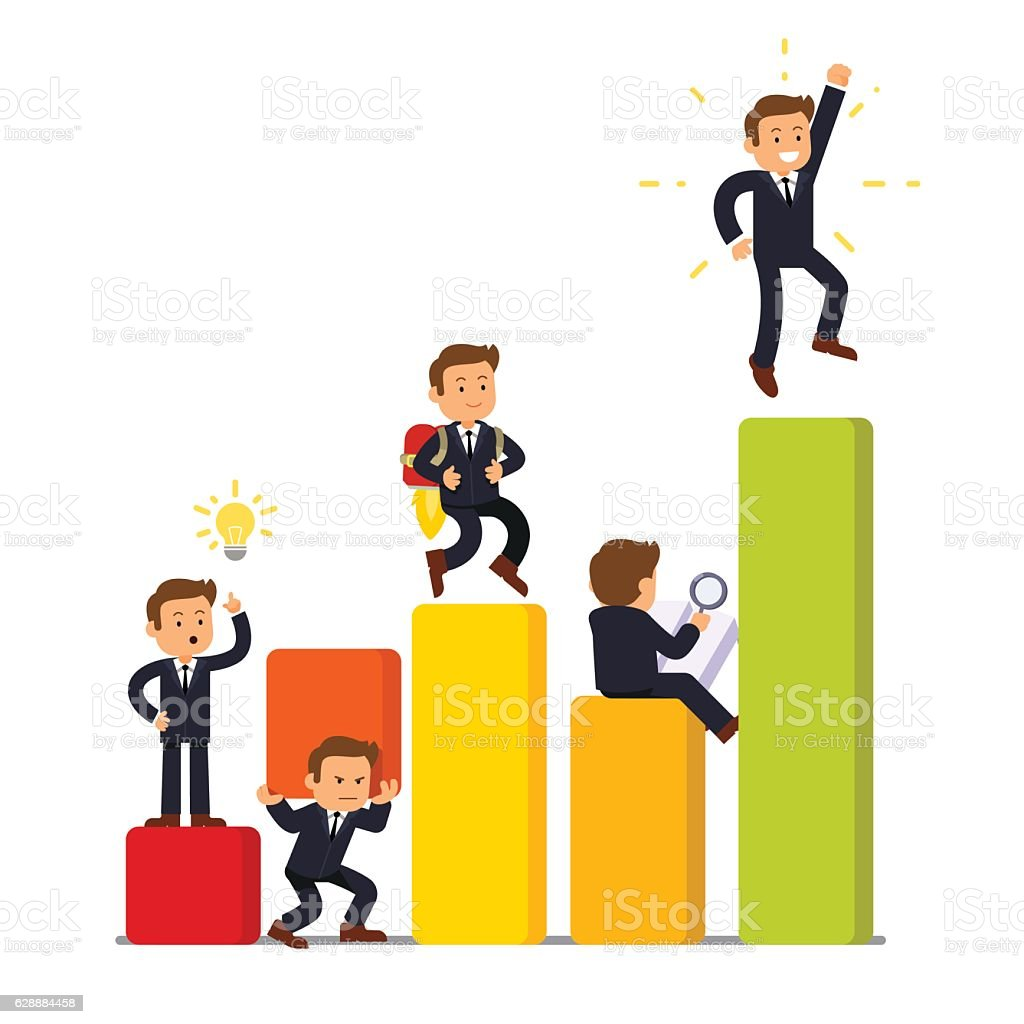 Stages of business development and growth vector art illustration