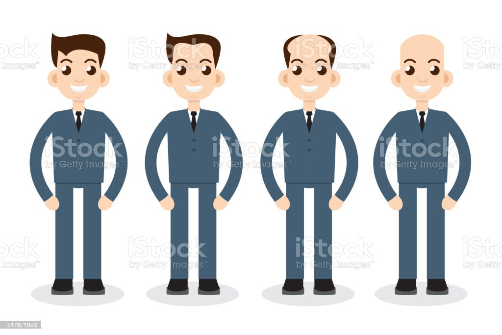 Stages of hair loss vector art illustration