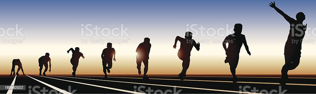 8 stages of running on a sunset shadow vector art illustration