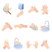 Stages proper care hands, washing, preventive maintenance of diseases, bacteria