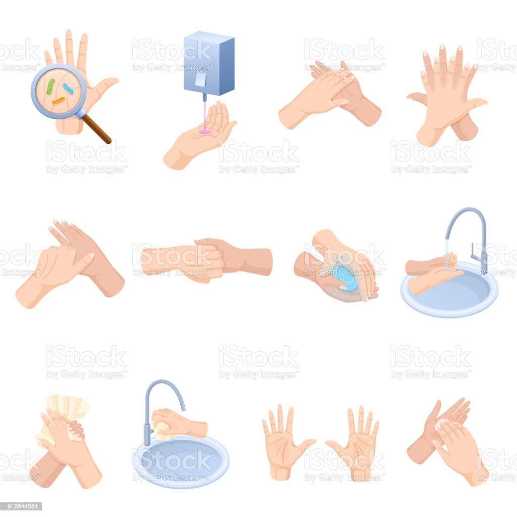 Stages proper care hands, washing, preventive maintenance of diseases, bacteria vector art illustration