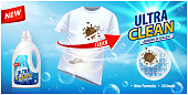 Stain remover, ad vector template or magazine design. Ads poster design on blue background with white t-shirt and stains