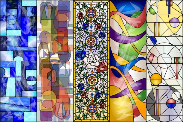 glasmalerei abstrakte vintage und moderne designs - mosaikglas stock-grafiken, -clipart, -cartoons und -symbole