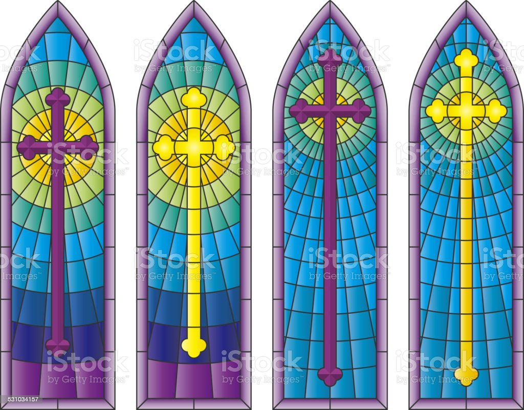 Stained Glass Church Windows vector art illustration
