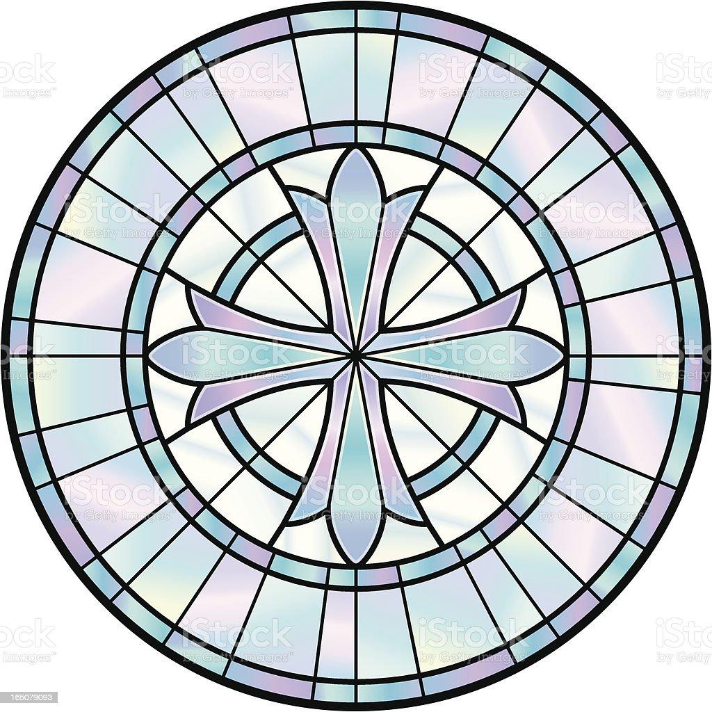 Stained Glass Cross Window vector art illustration