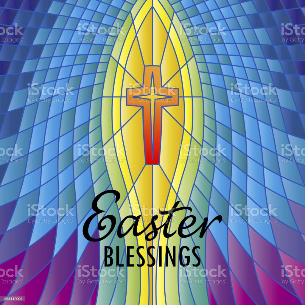 Stained Glass Easter Blessings vector art illustration