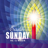 To celebrate the resurrection of Jesus Christ from the dead on the date of Easter Sunday with the stained glass background
