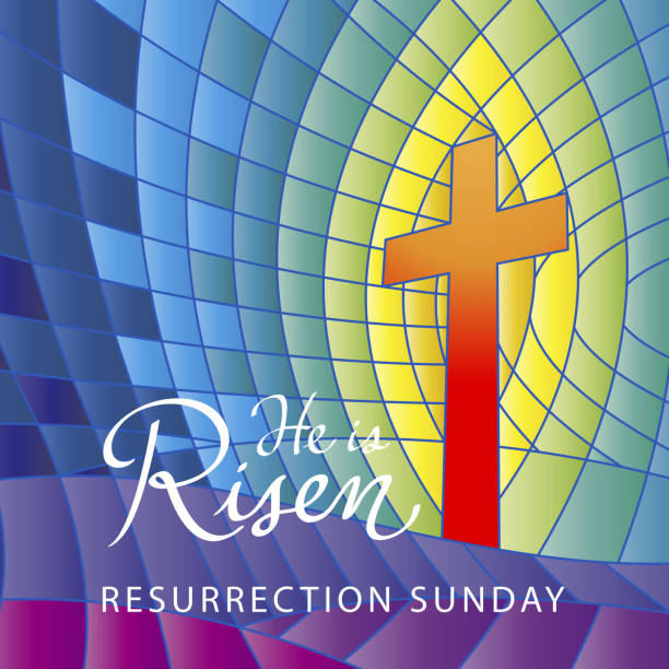 stained glass he is risen - religious symbols stock illustrations, clip art, cartoons, & icons