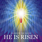 To celebrate the resurrection of Jesus Christ from the dead on the date of Easter with the stained glass background