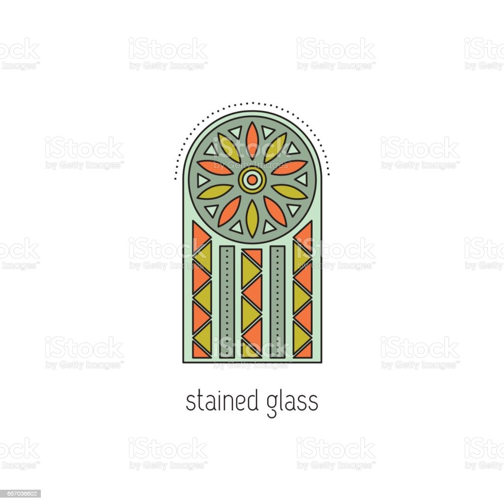 Stained glass line icon vector art illustration