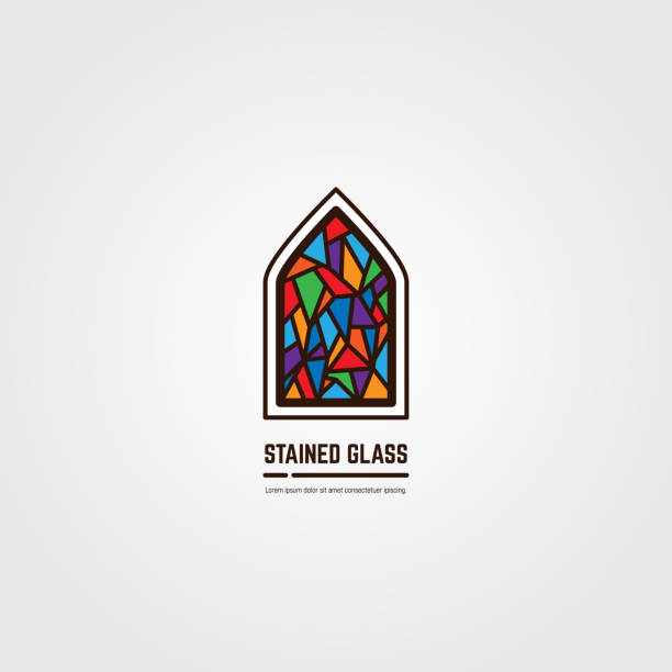 Stained glass line vector emblem Colorful stained glass window. Logo, emblem or icon with text. Thick line style flat style linear vector. Architecture, religious or gallery. Bright stain glass and color window. church stock illustrations