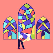 Stained Glass Manufacture, Handmade Hobby, Antique Craft. Tiny Male Character Painting Arched Window with Colorful Paints Holding Brush. Home Interior, Exterior Decoration. Cartoon Vector Illustration