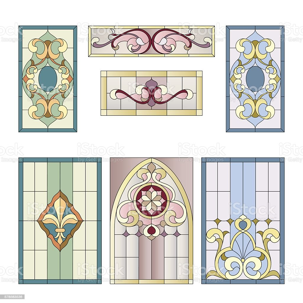 stained glass pattern vector art illustration
