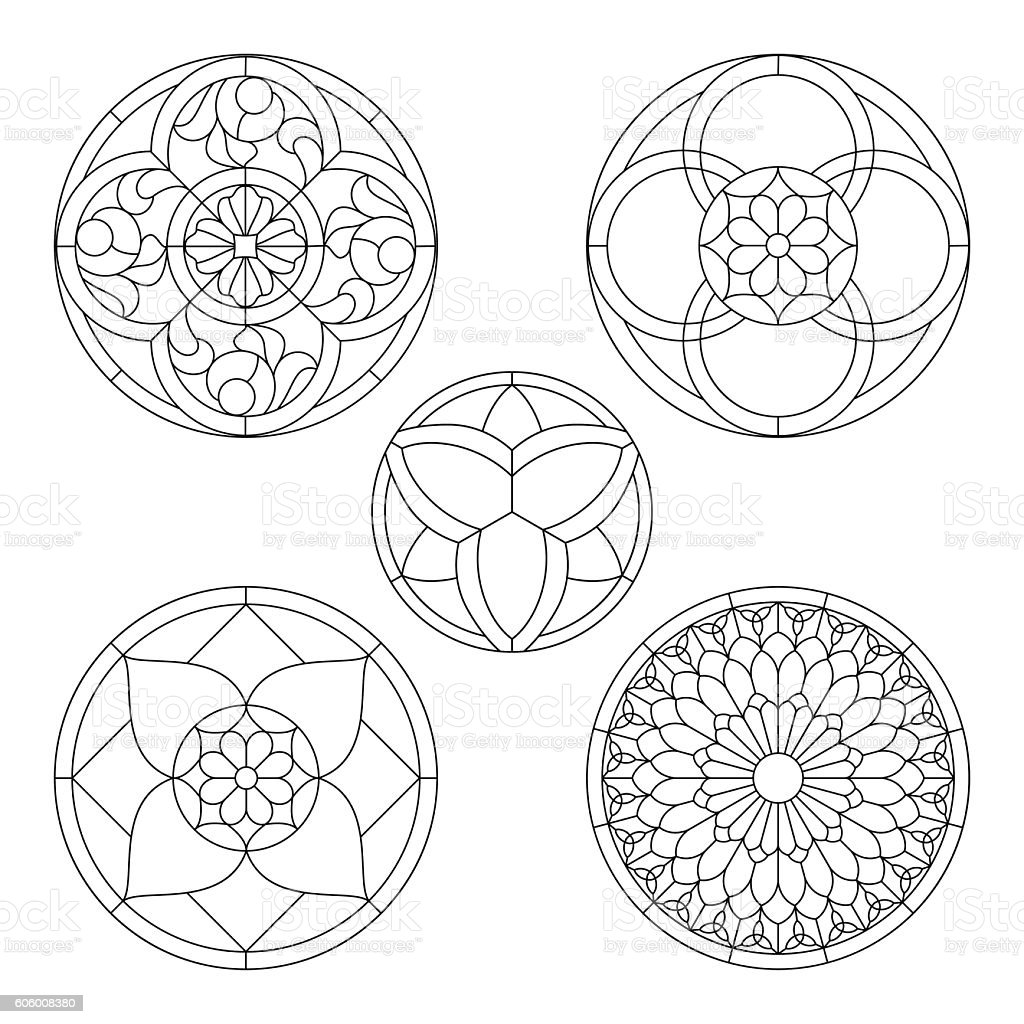 stained glass patterns vector art illustration