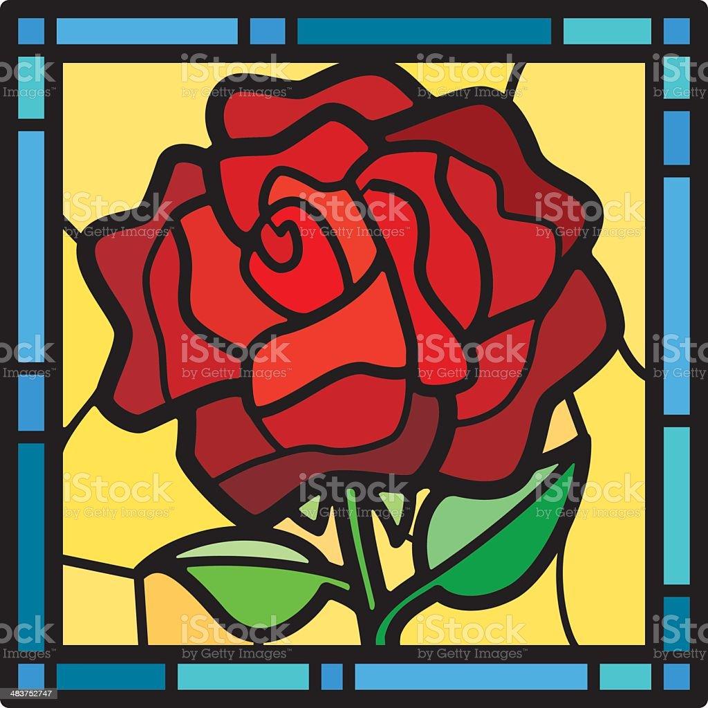 Stained Glass Rose vector art illustration