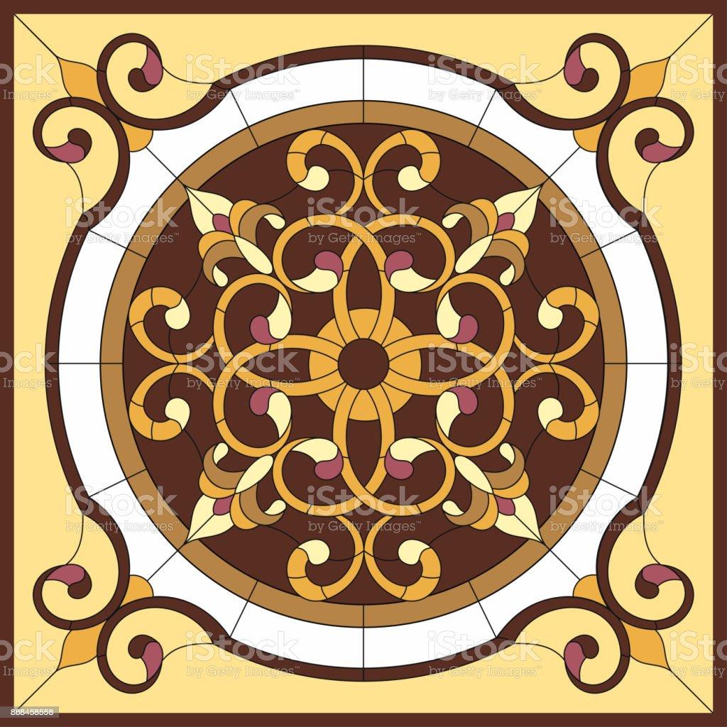 Ilustración de Vitral Flor Abstracta En La Ventana De Geometric De ...