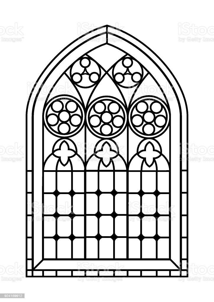 Vitray Pencere Boyama Sayfası Stok Vektör Sanatı Arka Planlarnin