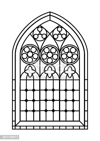 Stained Glass Window Colouring Page Stock Vector Art