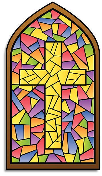 buntglasfenster cross - mosaikglas stock-grafiken, -clipart, -cartoons und -symbole