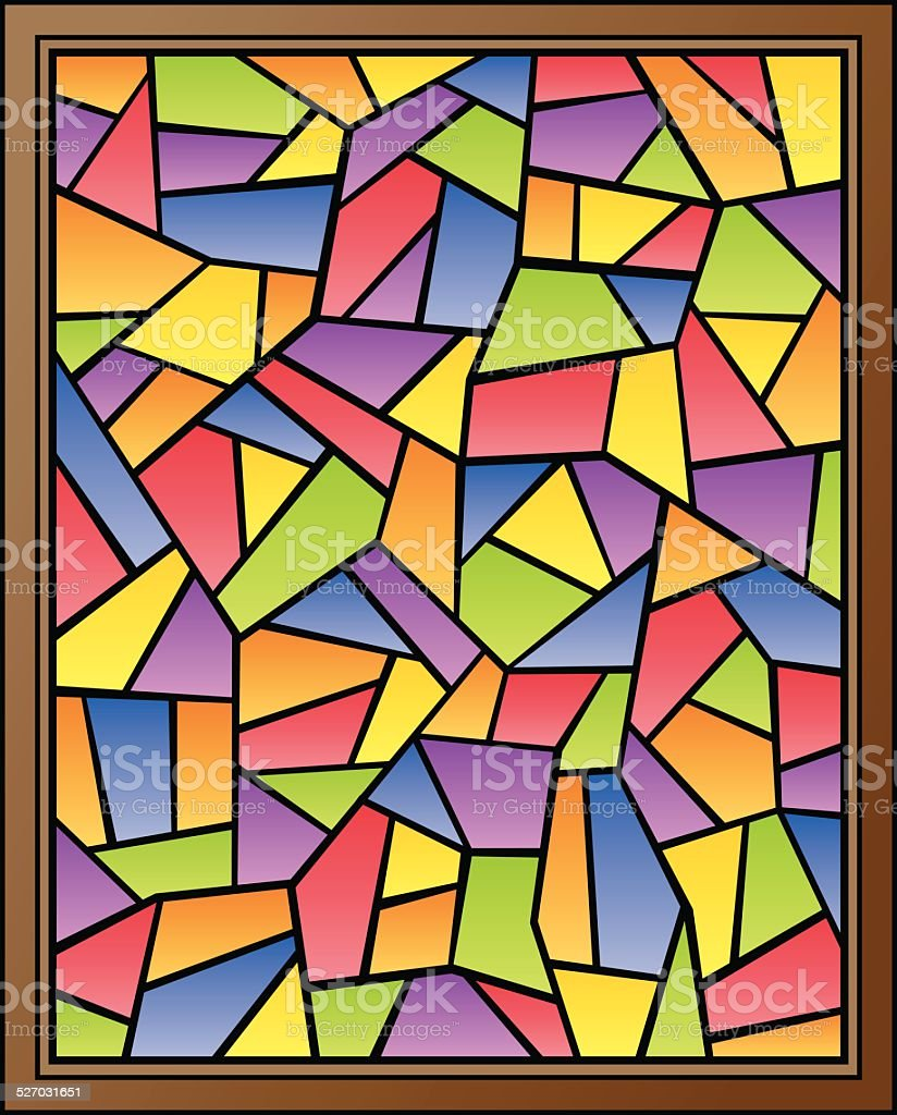 Stained Glass Window Cross vector art illustration