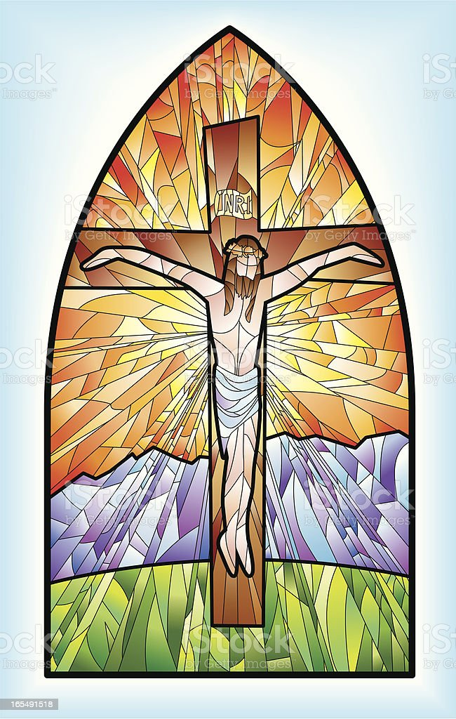 Stained glass window - Jesus royalty-free stock vector art