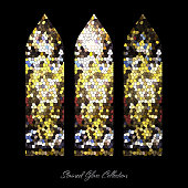 Stained glass window shape illustration, church mosaic, stain texture