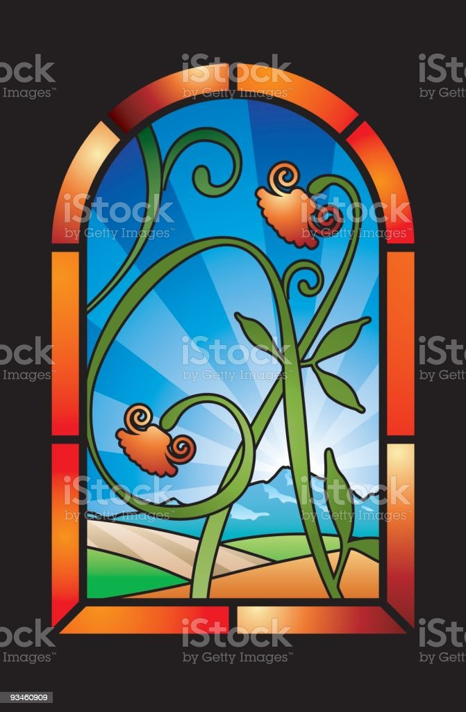 stained glass window royalty-free stained glass window stock vector art & more images of architecture