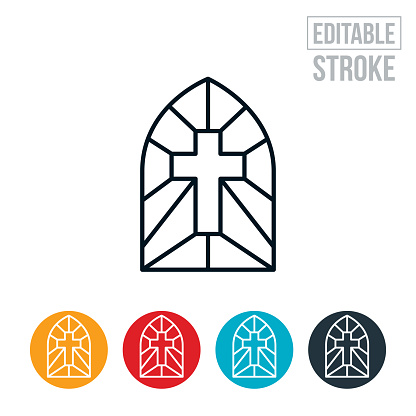 An icon of stained glass window with a cross. The icon includes editable strokes or outlines using the EPS vector file.